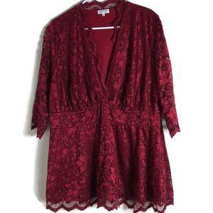 KIYONNA Crimson red lace overlay V-neck 3X